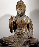 0289372 © Granger - Historical Picture ArchiveASIAN ART.   Amida-Nyorai or Buddha Amitabha, seated while preaching, wooden statue, Japan. Japanese Civilisation, Heian period, Fujiwara period, 11th-12th century. Full Credit: DEA / G. DAGLI ORTI / Granger, NYC -- All rights reserved.