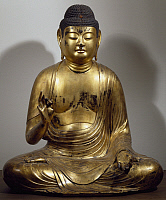 0289373 © Granger - Historical Picture ArchiveASIAN ART.   Amida-Nyorai or Buddha Amitabha, seated while preaching, lacquered and gilded wooden statue, Japan. Japanese Civilisation, Heian period, Fujiwara period, 11th-12th century. Full Credit: DEA / G. DAGLI ORTI / Granger, NYC -- All Rights Reserved.
