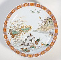 0289427 © Granger - Historical Picture ArchiveASIAN ART.   Plate decorated with birds in a cane thicket, famille verte (green family) ceramic, designed for the sixtieth anniversary of Emperor Kangxi, China. Chinese Civilisation, Qing dynasty, Kangxi reign, 17th-18th century. Full Credit: DEA / G. DAGLI ORTI / Granger, NYC -- All rights reserved