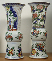 0289428 © Granger - Historical Picture ArchiveASIAN ART.   Two Zun shaped vases decorated with flowers and birds, famille verte (green family) ceramic, China. Chinese Civilisation, Qing dynasty, Kangxi reign, 17th-18th century. Full Credit: DEA / G. DAGLI ORTI / Granger, NYC -- All rig