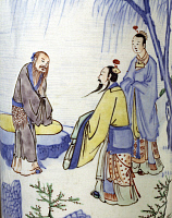 0289432 © Granger - Historical Picture ArchiveASIAN ART.   Three male figures in a garden, famille verte (green family), China. Detail of a decoration of a porcelain vase. Chinese Civilisation, Qing dynasty, mid-17th century. Full Credit: DEA / G. DAGLI ORTI / Granger, NYC -- All right
