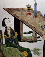 0289433 © Granger - Historical Picture ArchiveASIAN ART.   Woman sitting in front of a table, famille verte (green family) ceramic vase, China. Detail. Chinese Civilisation, Qing dynasty, beginning of Kangxi reign, 17th-18th century. Full Credit: DEA / G. DAGLI ORTI / Granger, NYC -- All Rights Reserved.