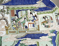 0289435 © Granger - Historical Picture ArchiveASIAN ART.   Women in a pagoda, detail of decoration of a big plate. Famille verte (green family) ceramic, China. Chinese Civilisation, Qing dynasty, beginning of Kangxi reign 17th-18th century. Full Credit: DEA / G. DAGLI ORTI / Granger, NYC -- All Rights Reserved.