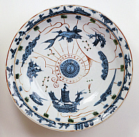 0289437 © Granger - Historical Picture ArchiveASIAN ART.   Fujian plate depicting a marine theme, Swatow porcelain from Southern China, destined for the South-East Asian market. Chinese Civilisation, Ming dynasty, Wanli reign, 16th-17th century. Full Credit: DEA / G. DAGLI ORTI / Granger, NYC -- All Rights Reserved.