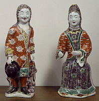 0289439 © Granger - Historical Picture ArchiveASIAN ART.   Couple of European figures, Famille verte (Green family) enamel porcelain statues destined for the Dutch market, China. Chinese Civilisation, Qing dynasty, Kangxi reign, 17th-18th century. Full Credit: DEA / G. DAGLI ORTI / Granger, NYC -- All Rights Reserved.
