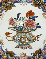 0289455 © Granger - Historical Picture ArchiveASIAN ART.   Floral decoration. Famille rose (pink family) ceramic plate, 1740-1750, China. Detail of the decoration. Chinese Civilisation, Qing dynasty, Qianlong reign, 18th century. Full Credit: DEA / A. DAGLI ORTI / Granger, NYC -- All Rights Reserved.