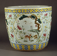 0289458 © Granger - Historical Picture ArchiveASIAN ART.   Cache-pot, ca 1780, famille rose (pink family) ceramic, height 32 cm, China. Chinese Civilisation, Qing dynasty, end of Qianlong reign, 18th century. Full Credit: DEA / A. DAGLI ORTI / Granger, NYC -- All rights reserved.