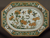 0289463 © Granger - Historical Picture ArchiveASIAN ART.   Famille verte (green family) ceramic serving plate, China. Chinese Civilisation, Qing dynasty, Kangxi reign, 18th century. Full Credit: DEA / A. DAGLI ORTI / Granger, NYC -- All Rights Reserved.