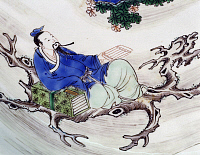 0289468 © Granger - Historical Picture ArchiveASIAN ART.   The poet Li Po sitting on a tree branch, famille verte (Green family) large ceramic plate. Detail of the decoration, China. Chinese Civilisation, Qing dynasty, the beginning of Kangxi reign, 17th-18th century. Full Credit: DEA / G. DAGLI ORTI / Granger, NYC -- All rights reserved.