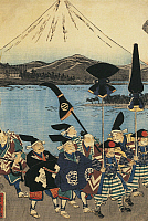 0289523 © Granger - Historical Picture ArchiveASIAN ART.   Daimyo parade in front of Mount Fuji, 1858, by Utagawa Yoshitora (active 1850-1880), woodcut, nishiki-e technique, Japan. Japanese Civilisation, Meiji period, 19th century. Full Credit: DEA / A. DAGLI ORTI / Granger, NYC -- All Rights Reserved.