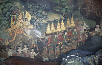 0290550 © Granger - Historical Picture ArchiveASIAN ART.   Mural paintings with scenes from the life of the Buddha, interior of the Wat Suwannaram Temple in Bangkok, Thailand. 18th-19th century. Full Credit: DEA / C. SAPPA / Granger, NYC -- All Rights Reserved.