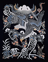 0290663 © Granger - Historical Picture ArchiveASIAN ART.   Mount Fuji, hawk, eggplant, plum blossoms and bamboo, detail of motifs for futonji bedspreads, cotton dyes in reserve with rice starch and indigo pigments by immersion, chemical and ink, 250x189 cm. Japanese civilization, Meiji-Taisho period. Full Credit: DEA PICTURE LIBRARY / Granger, NYC -- All Rights Reserved.