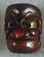 0290669 © Granger - Historical Picture ArchiveASIAN ART.   Ritual mask of a human face with ferocious expression and a long nose representing a konoha-tengu playful demon inhabitant of mountains and forests, 19th century, lacquered wood, 21x19 cm. Japanese civilization, Edo period (1603-1868). Full Credit: DEA PICTURE LIBRARY / Granger, NYC -- All Rights Reserved.
