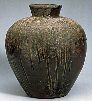0290694 © Granger - Historical Picture ArchiveASIAN ART.   Vase with short funnel neck and small rim with circular sections, produced ca 1480 in Bizen, Japan. Ceramic stoneware and enamel artefact, height 33 cm. Japanese civilization, Muromachi period (1392-1575). Full Credit: DEA PICTURE LIBRARY / Granger, NYC -- All rights reserved.