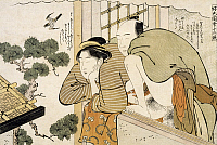 0290771 © Granger - Historical Picture ArchiveASIAN ART.   The month of October, ca 1788, shunga by Katsukawa Shuncho (active 1780-1800), woodcut from the The twelve months series. Japanese civilization, Edo period (1603-1868). Full Credit: DEA / G. DAGLI ORTI / Granger, NYC -- All rig