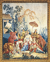 0291004 © Granger - Historical Picture ArchiveDECORATIVE ARTS.   Detail of an 18th century Beauvais tapestry based on design by Francois Boucher illustrating a Flower Market, 1743-53. Full Credit: DEA / A. DAGLI ORTI / Granger, NYC -- All Rights Reserved.