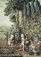 0291093 © Granger - Historical Picture ArchiveDECORATIVE ARTS.   Boys picking lilac flowers, 17th century Gobelins tapestry based on cartoons by Charles Le Brun, from the series The Child Gardeners. Full Credit: DEA PICTURE LIBRARY / Granger, NYC -- All rights reserved.