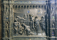 0291128 © Granger - Historical Picture ArchiveDECORATIVE ARTS.   Silversmith's art, Italy, 15th century. Silver altar of the Baptistery of San Giovanni. Detail: Antonio Benci called il Pollaiolo (1431-1498), Birth of Saint John the Baptist. Full Credit: DEA / G. NIMATALLAH / Granger, NYC -- All Rights Reserved.