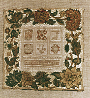 0291173 © Granger - Historical Picture ArchiveDECORATIVE ARTS.   Embroidery, England 18th century. Sampler with floral hem, embroidered with silk threads, in which there are stitch tests, made by Hannh Haynes, 1725-1730. Full Credit: DEA PICTURE LIBRARY / Granger, NYC -- All rights res