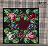 0291213 © Granger - Historical Picture ArchiveDECORATIVE ARTS.   Embroidery, Germany 19th century. Garland of roses and forget-me-nots embroidery design. Full Credit: DEA PICTURE LIBRARY / Granger, NYC -- All rights reserved.