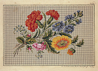 0291217 © Granger - Historical Picture ArchiveDECORATIVE ARTS.   Embroidery, Germany 19th century. Bunch of roses, carnations, marigolds and forget-me-not embroidery design. Full Credit: DEA PICTURE LIBRARY / Granger, NYC -- All Rights Reserved.