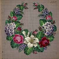 0291235 © Granger - Historical Picture ArchiveDECORATIVE ARTS.   Embroidery, Germany 19th century. Garland of roses, lilies, forget-me-not and wistaria embroidery design. Full Credit: DEA PICTURE LIBRARY / Granger, NYC -- All Rights Reserved.