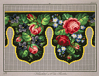 0291287 © Granger - Historical Picture ArchiveDECORATIVE ARTS.   Embroidery, Germany 19th century. Pelmet pattern with roses, violets and forget-me-not. Full Credit: DEA PICTURE LIBRARY / Granger, NYC -- All rights reserved.