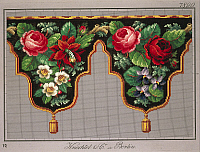 0291290 © Granger - Historical Picture ArchiveDECORATIVE ARTS.   Embroidery, Germany 19th century. Pelmet pattern with violets, fuchsia and hawthorn. Full Credit: DEA PICTURE LIBRARY / Granger, NYC -- All rights reserved.