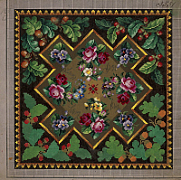 0291293 © Granger - Historical Picture ArchiveDECORATIVE ARTS.   Embroidery, Germany 19th century. Pillow or carpet pattern with roses, violets, forget-me-not, primulas, berries and acorns. Full Credit: DEA PICTURE LIBRARY / Granger, NYC -- All Rights Reserved.