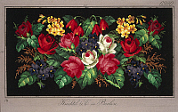 0291296 © Granger - Historical Picture ArchiveDECORATIVE ARTS.   Embroidery, Germany 19th century. Pillow or carpet pattern with roses, violets, primulas and fuchsia. Full Credit: DEA PICTURE LIBRARY / Granger, NYC -- All righ