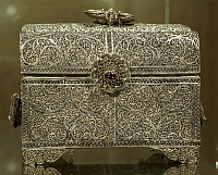 0291427 © Granger - Historical Picture ArchiveDECORATIVE ARTS.   Silversmith's art, Portugal, 17th century. Silver filigree casket. Indo-Portuguese manufacture. Detail. Full Credit: DEA / A. DAGLI ORTI / Granger, NYC -- All ri.