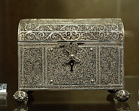 0291429 © Granger - Historical Picture ArchiveDECORATIVE ARTS.   Silversmith's art, Portugal, 17th century. Silver filigree casket. Indo-Portuguese manufacture. Detail. Full Credit: DEA / A. DAGLI ORTI / Granger, NYC -- All ri.