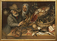 0292502 © Granger - Historical Picture ArchiveDECORATIVE ARTS.   The fishmarket, by Bartolomeo Passarotti (1529-1592), oil on canvas, 112x152 cm. Full Credit: DEA PICTURE LIBRARY / Granger, NYC -- All rights reserved.