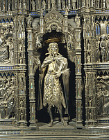 0292507 © Granger - Historical Picture ArchiveDECORATIVE ARTS.   Silversmith's art, Italy, 15th century. Silver altar of the Baptistery of San Giovanni, begun 1367. Workshop of Lorenzo Ghiberti (1378-1455). Central niche. Michelozzo Michelozzi (1396-1474), statue of Saint John the Baptist. Full Credit: DEA / A. DAGLI ORTI / Granger, NYC -- All Rights Reserved.
