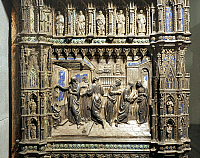 0292514 © Granger - Historical Picture ArchiveDECORATIVE ARTS.   Silversmith's art, Italy, 15th century. Silver altar of the Baptistery of San Giovanni, begun 1367. Detail: Bernardo Cennini (1415-1498), Stories from the life of Saint John the Baptist: announcement to Zechariah and Visitation. Full Credit: DEA / A. DAGLI ORTI / Granger, NYC -- All Rights Reserved.