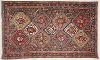 0293023 © Granger - Historical Picture ArchiveDECORATIVE ARTS.   Rugs and Carpets: Iran - Fars province - 19th century. Woollen Qashqai carpet with Toranj-Toranj motif (repetition of 'Kharchanghi' tribal symbol). Full Credit: DEA PICTURE LIBRARY / Granger, NYC -- All rights reserved.