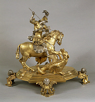 0293149 © Granger - Historical Picture ArchiveDECORATIVE ARTS.   Silversmith's art, Italy, 17th century. Silver and gilded bronze Saint George and the Princess, late 1600, attributed to Lorenzo Vaccaro (1655-1706). Full Credit: DEA / A. DAGLI ORTI / Granger, NYC -- All rights reserved.