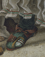 0293258 © Granger - Historical Picture ArchiveDECORATIVE ARTS.   Italy - Tuscany Region - Florence - Church of Santa Maria Novella. Chapel of Filippo Strozzi. Filippino Lippi (1457-1504). Saint Philip Driving the Dragon from the Temple of Hieropolis, detail of footwear. Fresco completed in 1502. Full Credit: DEA / G. NIMATALLAH / Granger, NYC -- All Rights Reserved.