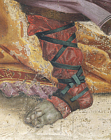 0293259 © Granger - Historical Picture ArchiveDECORATIVE ARTS.   Italy - Tuscany Region - Florence - Church of Santa Maria Novella. Chapel of Filippo Strozzi. Filippino Lippi (1457-1504). Saint Philip Driving the Dragon from the Temple of Hieropolis, detail of footwear. Fresco completed in 1502. Full Credit: DEA / G. NIMATALLAH / Granger, NYC -- All Rights Reserved.
