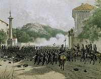 0294375 © Granger - Historical Picture ArchiveHISTORY.   Garibaldi's troops during the Battle of Varese, May 25, 1859. Second War of Independence, Italy, 19th century. Full Credit: DEA / A. DAGLI ORTI / Granger, NYC -- All rig