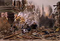 0294551 © Granger - Historical Picture ArchiveHISTORY.   Bombardment of Strasbourg, August-September 1870, by Ferat, engraving. Franco-Prussian War, France, 19th century. Full Credit: DEA / G. DAGLI ORTI / Granger, NYC -- All Rights Reserved.