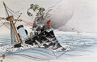 0294593 © Granger - Historical Picture ArchiveHISTORY.   Sinking of the Chinese ship, Kootsou-Go, charged with protecting Chinese troops in Korea, July 1894, engraving. First Sino-Japanese war, 19th century. Full Credit: DEA PICTURE LIBRARY / Granger, NYC -- All rights reserved.