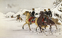 0294596 © Granger - Historical Picture ArchiveHISTORY.   The Japanese army marching to Wei-Hai-Wei, February 1895, drawing by Tai-Seki. First Sino-Japanese War, China, 19th century. Full Credit: DEA / G. DAGLI ORTI / Granger, NYC -- All Rights Reserved.