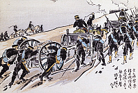 0294597 © Granger - Historical Picture ArchiveHISTORY.   The Japanese army moving towards Takuboku under the command of General Katsura, print. First Sino-Japanese war, 19th century. Full Credit: DEA PICTURE LIBRARY / Granger, NYC -- All Rights Reserved.