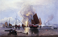 0294620 © Granger - Historical Picture ArchiveHISTORY.   British ships destroying an enemy fleet in Canton, 1841. First Opium War, China, 19th century. Full Credit: DEA PICTURE LIBRARY / Granger, NYC -- All rights reserved.