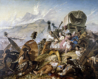 0294650 © Granger - Historical Picture ArchiveHISTORY.   The Zulu natives attacking a Boer caravan at Blauwkrantz, February 6, 1838, by Thomas Baines (1820-1875), oil on canvas. South Africa, 19th century. Full Credit: DEA PICTURE LIBRARY / Granger, NYC -- All rights reserved.