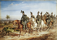 0294654 © Granger - Historical Picture ArchiveHISTORY.   British Fusiliers on patrol on horseback, by Orlando Norie (1832-1901), watercolour. Anglo-Boer wars, South Africa, 19th-20th century. Full Credit: DEA PICTURE LIBRARY / Granger, NYC -- All rights reserved.