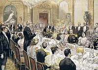 0295054 © Granger - Historical Picture ArchiveHISTORY.   Banquet offered by President Felix Faure in honor of General Duchesne in Paris, 1896. France, 19th century. Full Credit: DEA / G. DAGLI ORTI / Granger, NYC -- All rights
