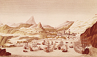 0295217 © Granger - Historical Picture ArchiveHISTORY.   St Helena island port, October 17, 1815, engraving. Restoration, United Kingdom, 19th century. Full Credit: DEA / M. SEEMULLER / Granger, NYC -- All rights reserved.