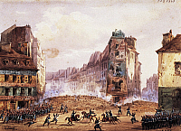 0295332 © Granger - Historical Picture ArchiveHISTORY.   Scene from the 1848 Revolution, Culture Sainte Catherine Street barricade in the month of February, watercolour by Gobaut. France, 19th century. Full Credit: DEA / G. DAGLI ORTI / Granger, NYC -- All rights reserved.